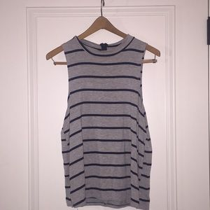 Gray and Navy Blue Striped Tank
